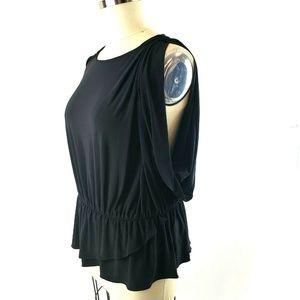 Tahari Black Jersey Peplum Top Cold Shoulder